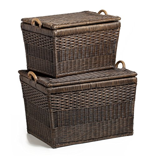 The Basket Lady Lift-off Lid Wicker Storage Basket Nested set of 2 Antique Walnut Brown by The Basket Lady