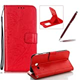 Strap Case for Samsung Galaxy J3 Prime,Wallet Leather Cover for Samsung Galaxy J3 2017,Herzzer Classic Elegant [Red Butterfly Pattern] PU Leather Fold Stand Card Holders Smart Phone Case for Samsung Galaxy J3 Prime/J3 2017 + 1 x Free Red Cellphone Kickstand + 1 x Free Claret-Red Stylus Pen