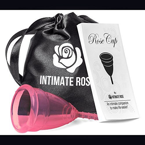 Intimate Rose Menstrual Cup Is Perfect For Beginners - 12 Hour Period Protection With FDA Approved Silicone - More Comfortable Than The Diva Cup - Eco-Friendly Alternative to Tampons & Pads