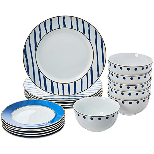AmazonBasics 18-Piece Kitchen Dinnerware Set, Dishes, Bowls, Service for 6, Blue Accent (Set Kitchen Nautical)