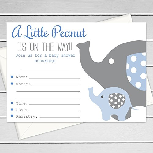 Baby Boy Elephant Themed Shower Invitations, Fill in the blank invitations, 12 pack, Large 5x7 Size with Envelopes (INVT106)