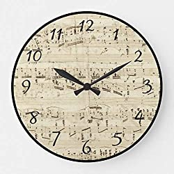 Aet3thew Sheet Music on Parchment Handwritten in Ink Wooden Wall Clock Round Silent Home Decor Gift for Kitchen, Living Room, Bedroom 15 inch