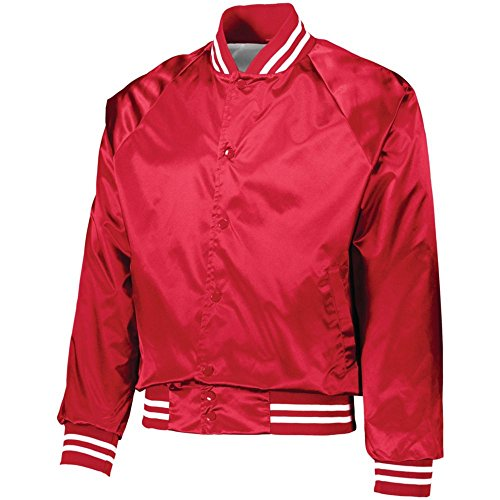Augusta Activewear Satin Baseball Jacket/Striped Trim, Red/White, Medium