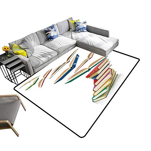 Contemporary Indoor Area Rugs Stack Books Fly Books Isolate on White Carpet for Children Home Decorate 5' X 7'