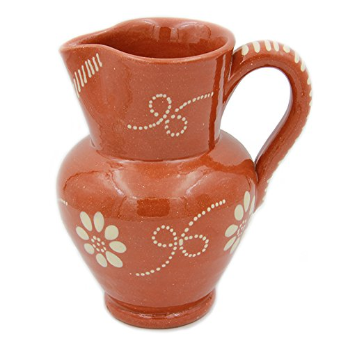 Portuguese Pottery Glazed Terracotta Hand Painted Wine Pitcher (9 Cups - 2.3 Litters) ()