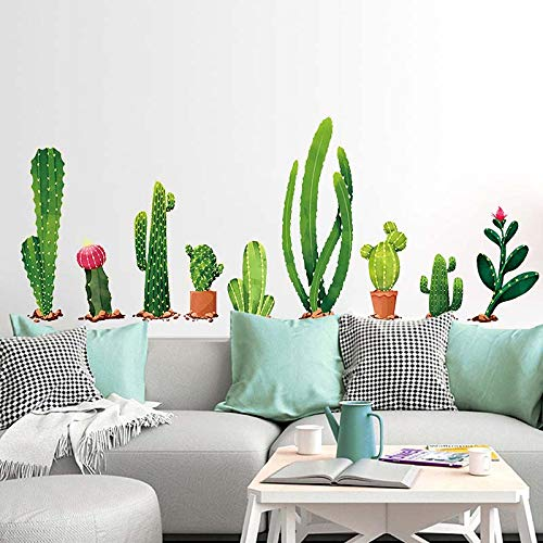 Cactus Wall Decal, H2MTOOL Removable Art Nursery Plants Stickers for Kids Rooms Decor (Cactus)