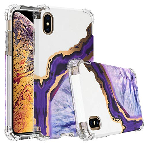 (WALAGO iPhone Xs Max Case, Shiny Purple Agate Marble Case Heavy Duty Hybrid Dual Layer Full-Body Protect Case Soft TPU + Hard Plastic Back Cover for iPhone Xs Max 6.5