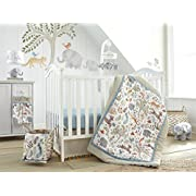 Levtex Baby Jungalo Natural Animal Themed 5 Piece Crib Bedding Set, Quilt, 100% Cotton Crib Fitted Sheet, 3-tiered Dust Ruffle, Diaper Stacker and Large Wall Decals