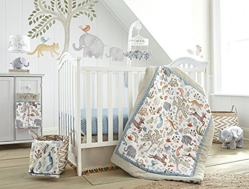 Levtex Baby Jungalo Natural Animal Themed 5 Piece Crib Bedding Set, Quilt, 100% Cotton Crib Fitted Sheet, 3-tiered Dust Ruffle, Diaper Stacker and Large Wall Decals by Levtex