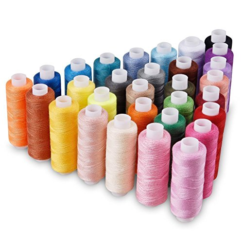 Candora Sewing Thread Assortment Coil 30 Color 250 Yards Each Polyester Thread Sewing Kit All Purpose Polyester Thread for Hand and Machine Sewing