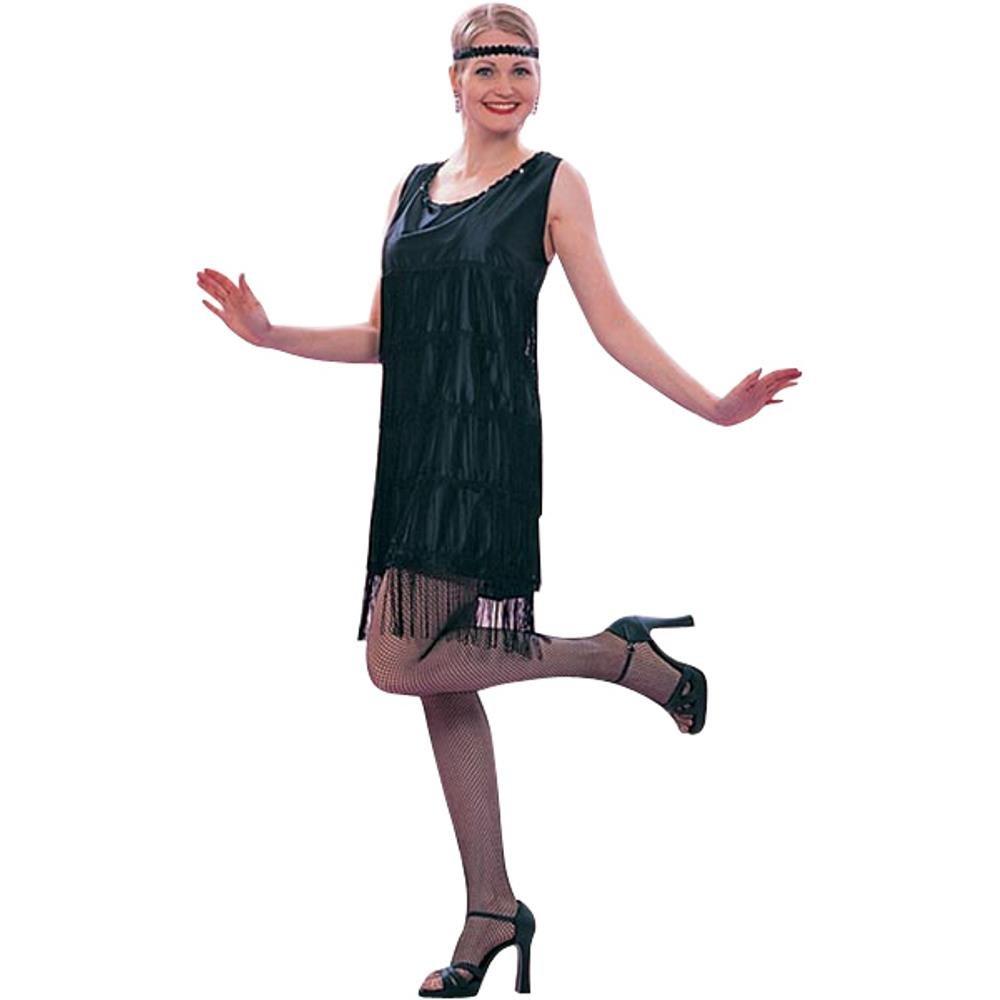 da76454be3bd3 Amazon.com  Ladies Roaring 20s Black Flapper Dress Costume (Size  Standard  8-12)  Clothing