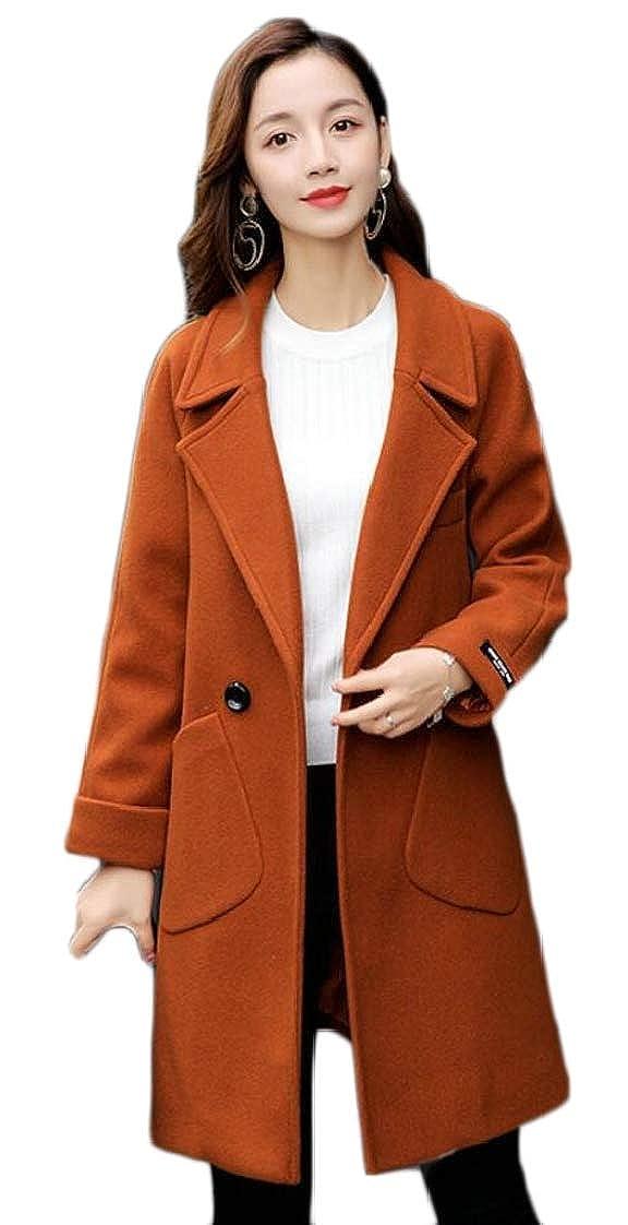 1 Esast Women's Double Breasted Wool Blend Pea Coats Overcoat