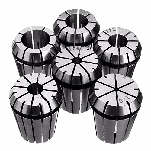 Collet 1/8' Square (6pcs ER32 Spring Collet Set 1/8 Inch to 3/4 Inch Chuck Collet for CNC Milling Lathe Tool)