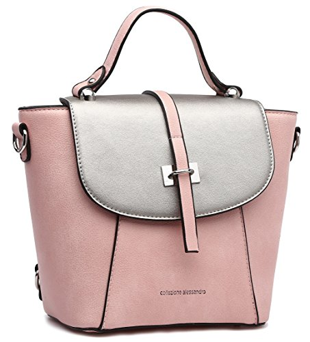 Collezione Alessandro Practical Backpack And Fashionable 3-in-1, Shoulder, Shoulder And Backpack In One - With Zipper In The Back, About 22x22x12cm Pink
