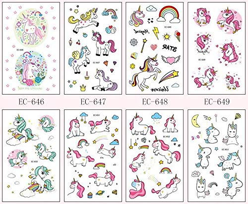 M.owstoni Unicorn Party Supplies Tattoos for Kids - 70 Glitter Styles Unicorn Party Favors and Birthday Decorations + Halloween Costume 5