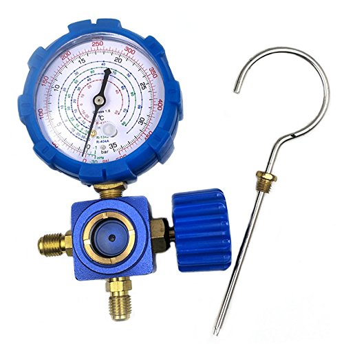 - Nikauto R134 R410a R22 R404a Manifold Gauge High Low Pressure Gauge Without hose (blue)