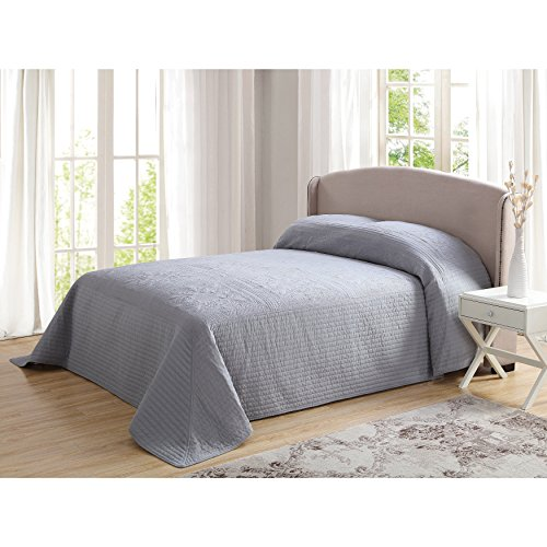 1 Piece 120 x 118 Parisian French Tile Oversized Gray King Bedspread To The Floor, Extra Long Floral Grey Bedding Xtra Wide Hangs Over Edge Bed Frame, Drapes Drops Down Sides, Cotton Polyester by DH