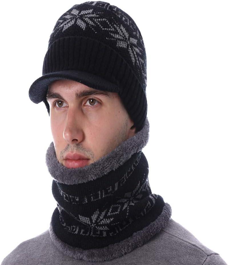 JKFXMN Sombrero De Invierno De Moda Bufanda para Hombre Skullies Bonnet Sombrero De Punto Unisex Warm Baggy Women Mask Beanie Black