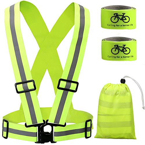 Reflective Gear for Cycling, Safety Vest Gear High Visibility Adjustable Belt Bands Lightweight Portable for Runner Outdoor Activities Running, Motorcycle Riding,Walking, Jogging and Hiking