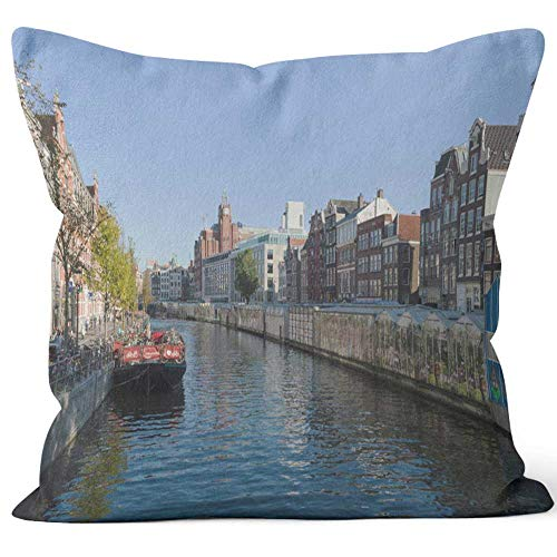 - Nine City View of The Market Stalls of Flower Market and Bicycle Parking Made on Barge Home Decorative Throw Pillow Cover,HD Printing Square Pillow case,20