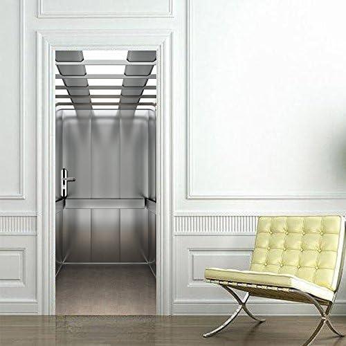 TIEZHI Dormitorio Puertas correderas Puerta de Madera Refurbished Imitation 3D Elevador Creativo Stickers Waterproof PVC Wall Art Decor Mural Decals: Amazon.es: Hogar