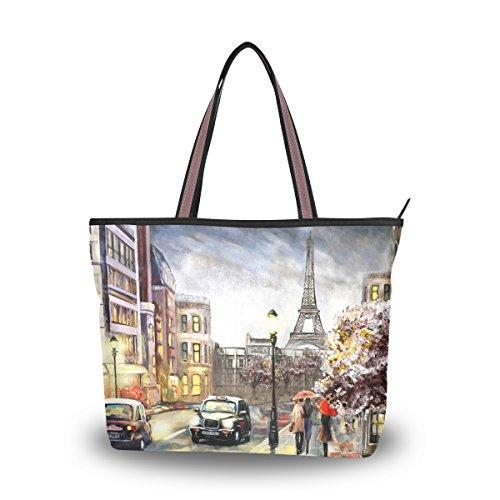 Women Top Handle Handbag Casual Tote Bag Oil Painting Paris Street View Eiffel Tower Shopping Travel Shoulder - Street Shopping Paris