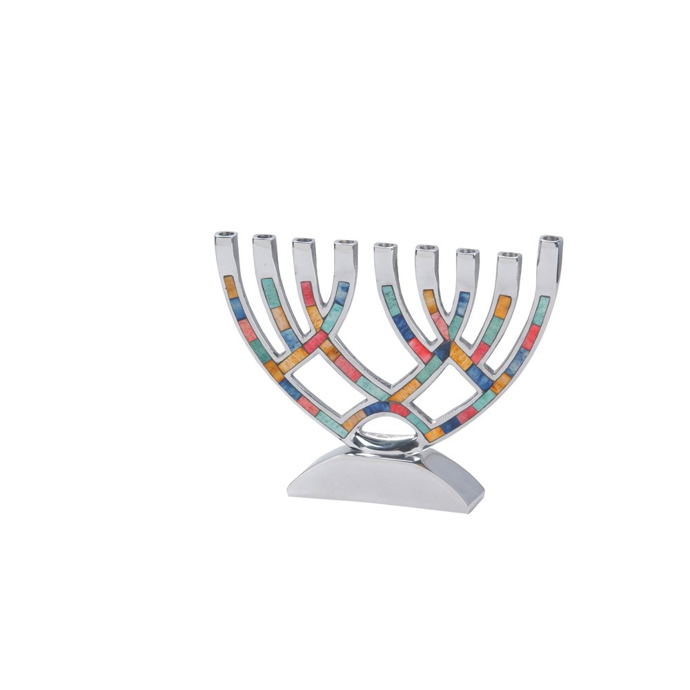 Israel Giftware Designs Contemporary Menorah with Multi Colored Inlay-M-4805 1233-M-4805