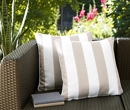 """Ornavo Home Water Resistant Indoor/Outdoor Square Patio Decorative Stripe Throw Pillow Cushion - Insert Included - Set of 2-18"""" x 18"""" - Beige - LONG LASTING: These 18-inch accent pillows are made with premium fabric for superior color retention and resistance to mildew and stains, so they're ready for the great outdoors. WATER REPELLENT: This set includes two pillows, each featuring a 100% polyester cover that's resistant to moisture, making the pillows weatherproof and appropriate for patio furniture. The cover has the highest UV and abrasion resistance ratings. FADE RESISTANT: Rejuvenate your patio or deck furniture with these striped outdoor throw pillows. The set of two pillows are constructed from fade-resistant fabric and filled with polyester fill to withstand wear and tear from outdoor exposure. - patio, outdoor-throw-pillows, outdoor-decor - 51lAzVBx2sL -"""