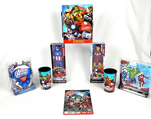 Boys 8 pc Deluxe Avengers Movie Headphones Action Figure Comic Book Superhero Gift Bundle
