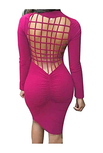 Haogo Womens Sexy Long Sleeves Back Mesh Cross Cut Stretch Bandage Party Evening Dress