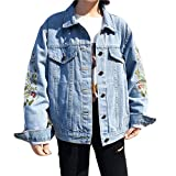 wlsomegoo Womens Floral Embroidered Denim Jacket Boyfriend Loose Outwear Button Front Jean Jacket Blue XL