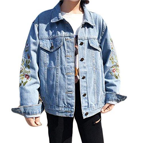 wlsomegoo Womens Floral Embroidered Denim Jacket Boyfriend Loose Outwear Button Front Jean Jacket Blue XL by wlsomegoo