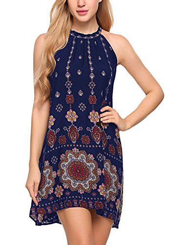 BLUETIME Women's Casual Sleeveless Halter Neck Boho Print Short Dress Sundress (S, Navy Blue 1)