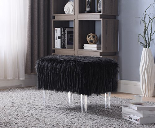 Iconic Home FON2643-AN Fiorino Contemporary Faux Fur Acrylic Modern Leg Ottoman, Black