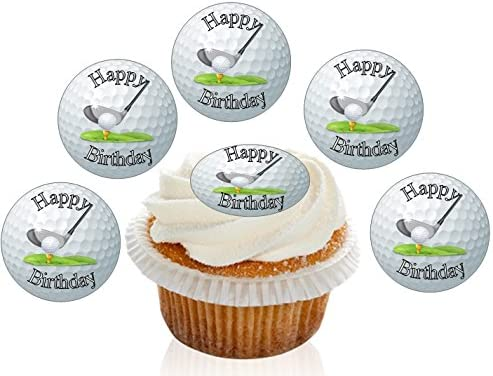 Marvelous 12 Large Pre Cut Edible Happy Birthday Golf Ball Premium Disc Personalised Birthday Cards Arneslily Jamesorg