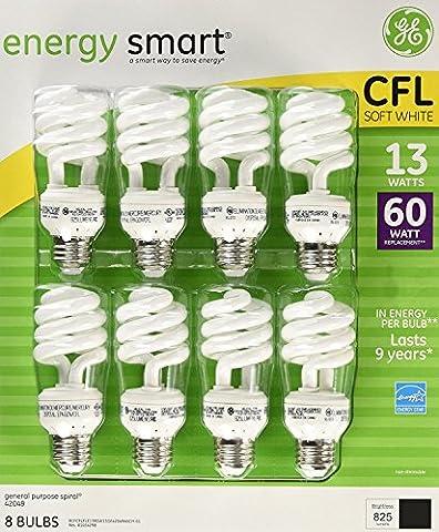 GE 13-Watt Energy Smart Fluorescent Light Bulbs, 32 Pack, 60 Watt Replacement - Yellow Cfl