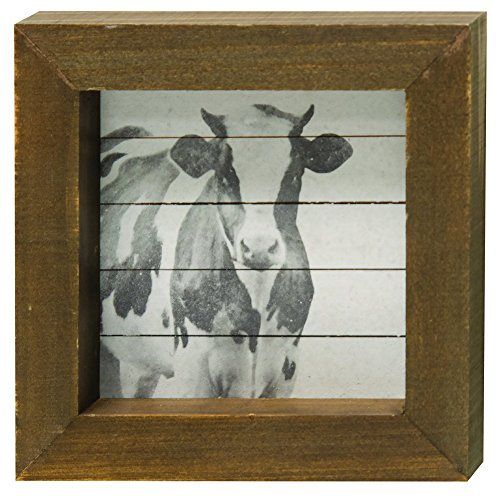 CWI Gifts Shiplap Simply Farmhouse Block with Cow Print, Multicolored