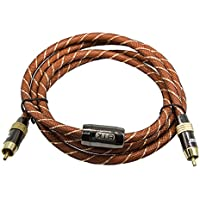 Digital Audio Coaxial Cable (5 Feet) Dual Shielded with RCA to RCA Gold-Plated Connectors-QiCheng&Start