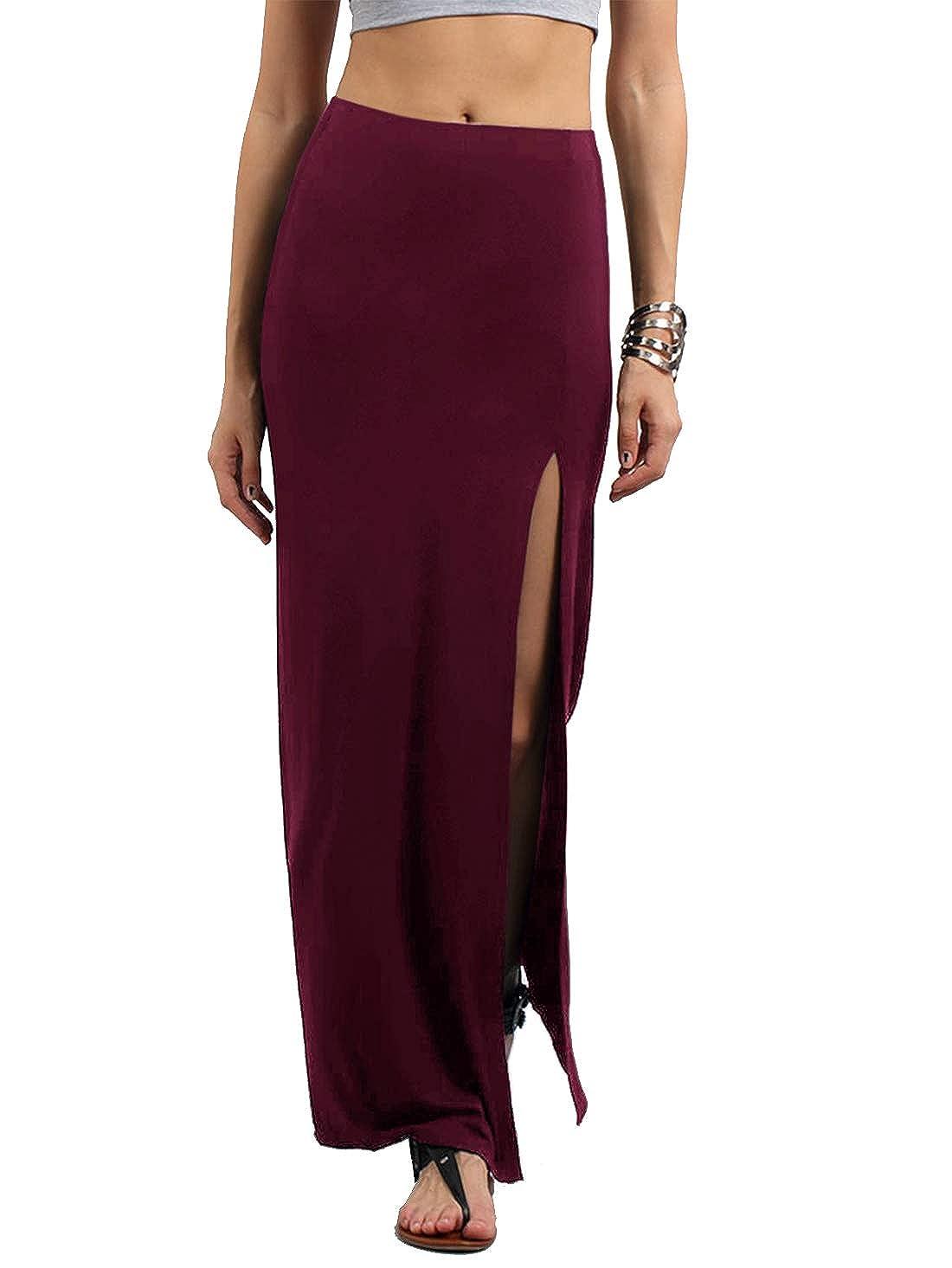 Burgundy Verdusa Women's Solid color High Waist Side Split Maxi Skirt