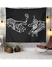 Wall Tapestry White and Black Floral Hands, Psychedelic Trippy Hippie Boho Novelty Tapestry Wall Hanging, Art Decor Print Fabric for Bedroom Living Room College Dorm,92×72 inch (230×180 cm)