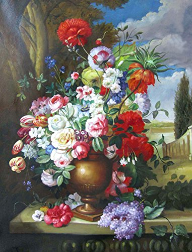 MailingArt Wooden Framed Paint By Number Flowers No Mixing / No Blending Canvas DIY Painting - Classical Flowers (I01)