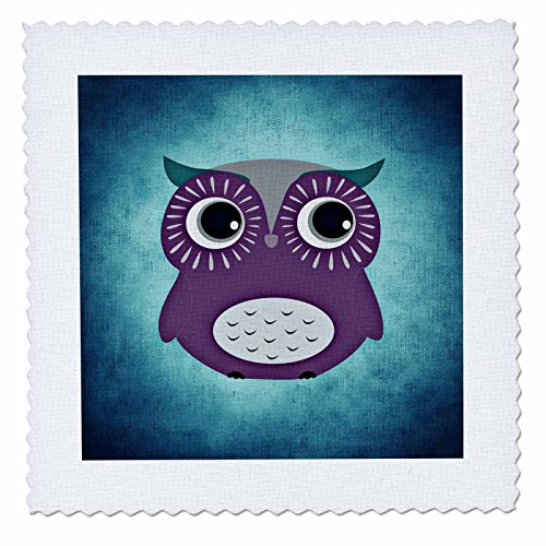 Background Quilt Fabric (3dRose Purple Owl with Blue Background Quilt Square, 10 x 10