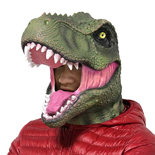 LarpGears Halloween Party Latex Animal T-Rex Jurassic Dinosaur Head Mask -
