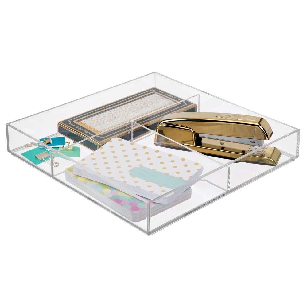 durchsichtig praktischer B/üro Organizer mDesign 2er-Set Schreibtisch Organizer auch geeignet f/ür K/üchenutensilien und Kosmetik modernes Schubladenelement