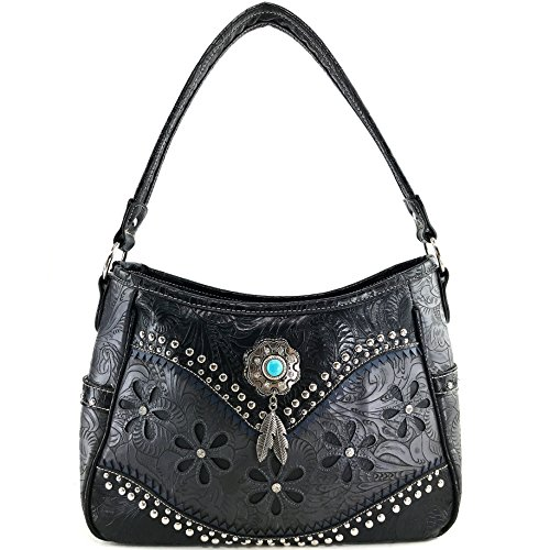 - Justin West Turquoise Stone Concho Feathers Western Tooled Studs Concealed Carry Handbag Purse (Black Purse Only)