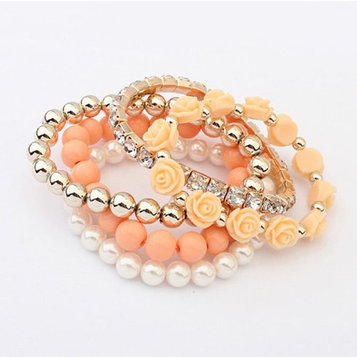 Multilayer Beads Wrap Bracelets Stretch for Women Girls Teen Cuekondy 5 Pcs/Set Acrylic Rose Flower Round Pearl Shining Bangle Charm Jewelry
