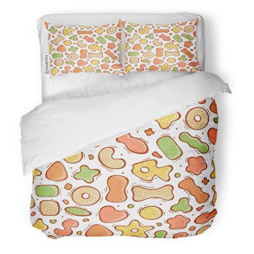 Semtomn Decor Duvet Cover Set King Size Animal Pet Dry Food Doodle Cat Dog Bagel Biscuit 3 Piece Brushed Microfiber Fabric Print Bedding Set -