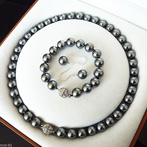 Fashion 12mm Black Gray South Sea Shell Pearl Necklace bracelet Earring Set AAA