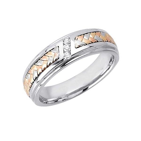 009ct-TDW-White-Diamonds-14K-Gold-Braided-Basket-Weave-Mens-Wedding-Band-G-H-SI1-SI2-6mm