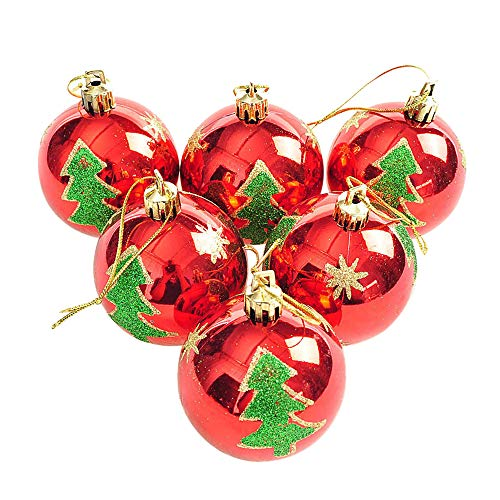 Weite 6 Pieces Shiny Christmas Ball Bauble Ornaments, [6cm] Shatterproof Christmas Decorations Tree Balls for Holiday Wedding Party Decoration Small Xmas Trees Pendants -